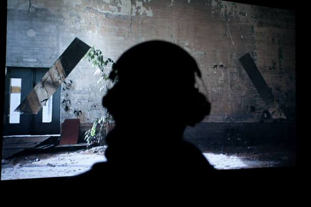 "Watching a video from |¦¦|, a ""collision event"" installation by Armin Keplinger"